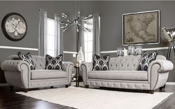 Sm2291 Furniture Of America Living Room Modern Victorian Style Gray Fabric Small Living Room Design Grey Living Room Sets Living Room Grey