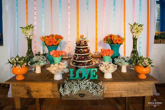 Decoração de casamento  mesa do bolo para mini wedding Fica, vai