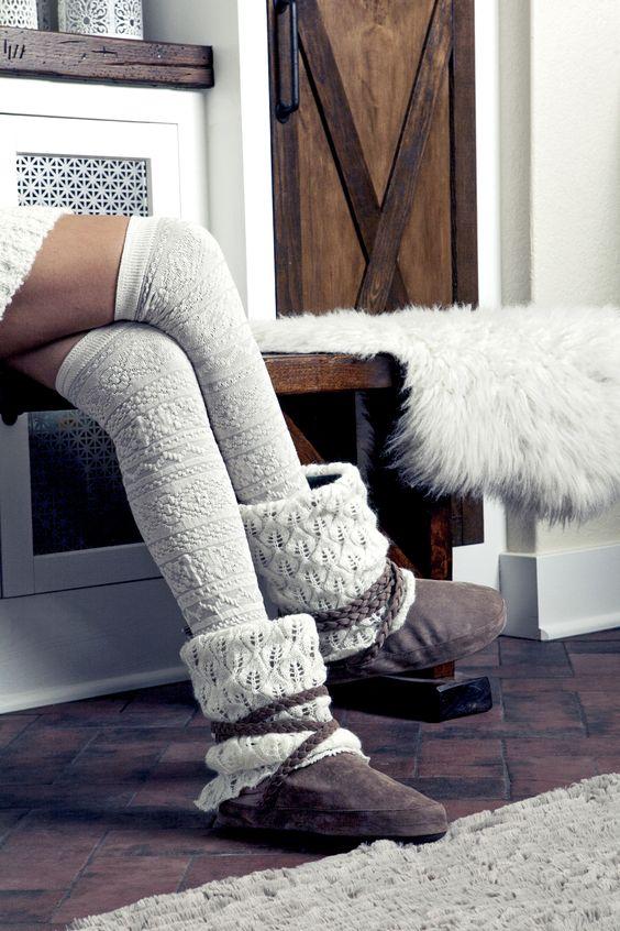 MUK LUKS Winter White Fairisle Pattern over the knee socks + Light ...