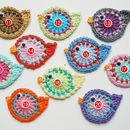 Crochet patches – 3 Vögel freie Farbwahl – a unique product by Haekelbluemchen on DaWanda