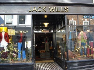Jack Wills depends hugely on the highstreet itself. Given the fact that you won't see them advertise through television or rarely print, the highstreet is vital to their image and advertising. From the customers who are branded with Jack Wills from head to toe, to the manikins that stand tall and bold in the shop window; the appearance of which is very traditional and atmospheric, which is very reflective of the brand.