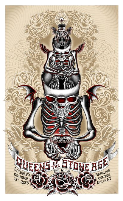 Emek Studios presents: QOTSA at Barklays Center in Brooklyn, NY. Image: Skeleton cyclops with wings topped with seeng eye, black, gray, red....