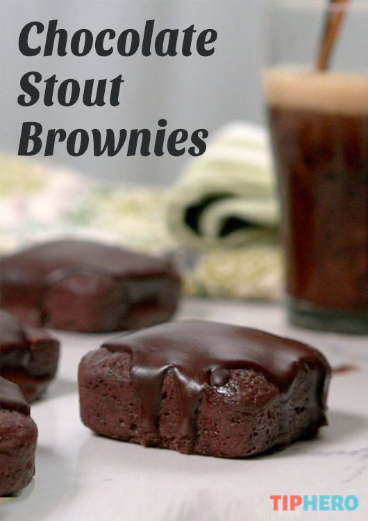 Chocolate Stout Brownies Recipe | Brownies and beer? Why not? Add a can of your favorite dark stout to a standard box brownie mix along with some added dark chocolate for a decadent treat. Click to watch the video and get the recipe. #irishdesserts #sweettreats #holidays #stpattysday