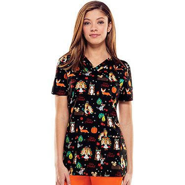 Everyday Scrubs Signature By Dickies Women's V-Neck Thanksgiving Print Scrub Top