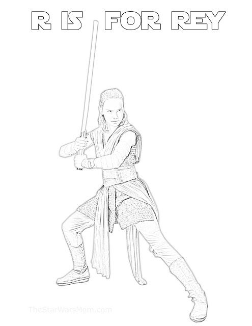 R Is For Rey Star Wars Alphabet Coloring Page Rey Star Wars