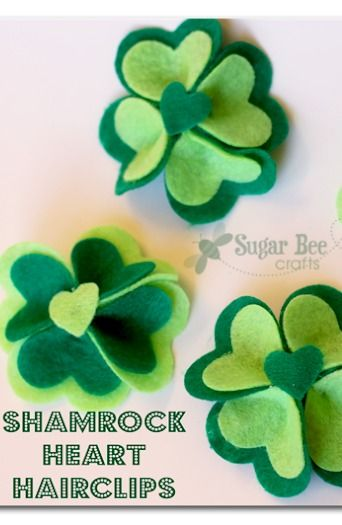 these are just perfect for St. Patrick's Day - - cute hairclips made from felt!! -  tutorial - Shamrock Heart Hairclips ~ Sugar Bee Crafts