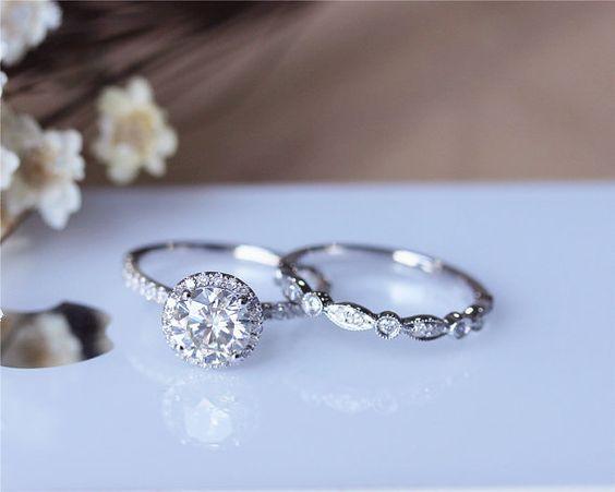 1ct Brilliant Moissanite Engagement Ring Set Solid 14K White Gold Wedding Ring Set Moissanite Ring Set Anniversary Ring Set