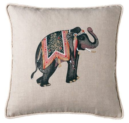 Capturing the spirit of India, our Elephant cushion provides an exotic accent within boudoirs and living areas #linenandmoore