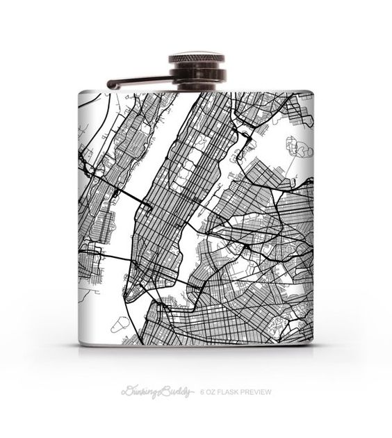 New York City Map 6oz or 8oz Liquor Hip Flask by DrinkingBuddy