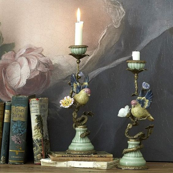 ❥ birds, books, painting, candles. it's all beautiful {angelatmytable.com}