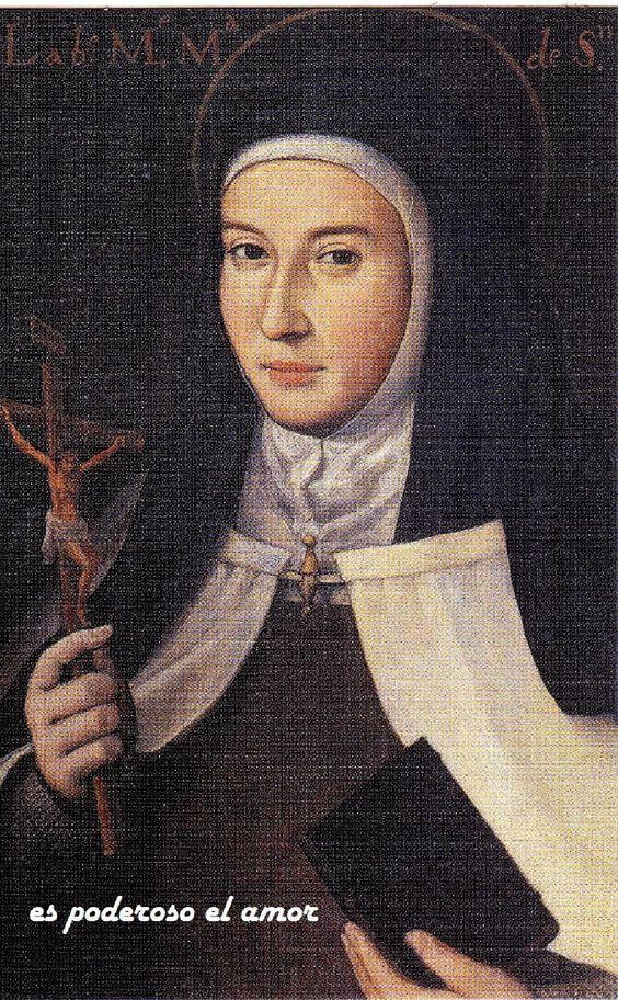 """Unica pintura que poseemos de María de San José. La frase """"es poderoso el amor"""" tomada de sus escritos es una añadido digital. Obseerve la aureola, y no ha sido beatificada, lo cual muestra la fama de santidad"""