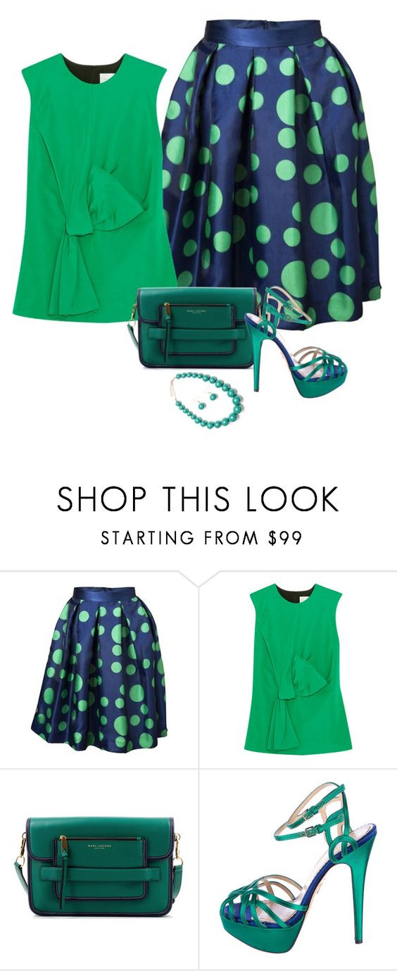 """""""Green & Blue Styling"""" by freshstart60 ❤ liked on Polyvore featuring Victoria, Victoria Beckham, Marc Jacobs and Charlotte Olympia"""