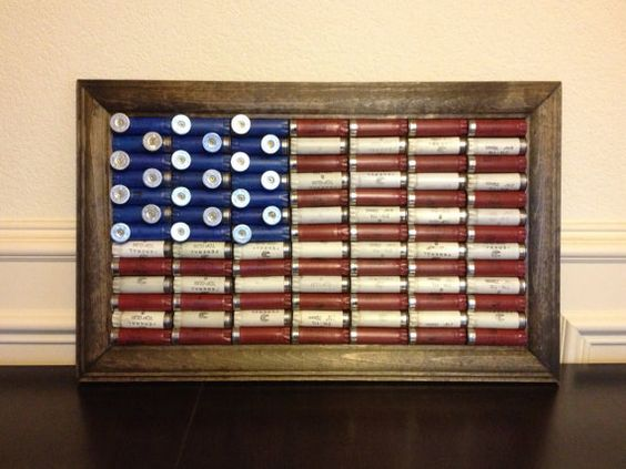 Small hand crafted shotgun shell american flag diy for Diy shell crafts