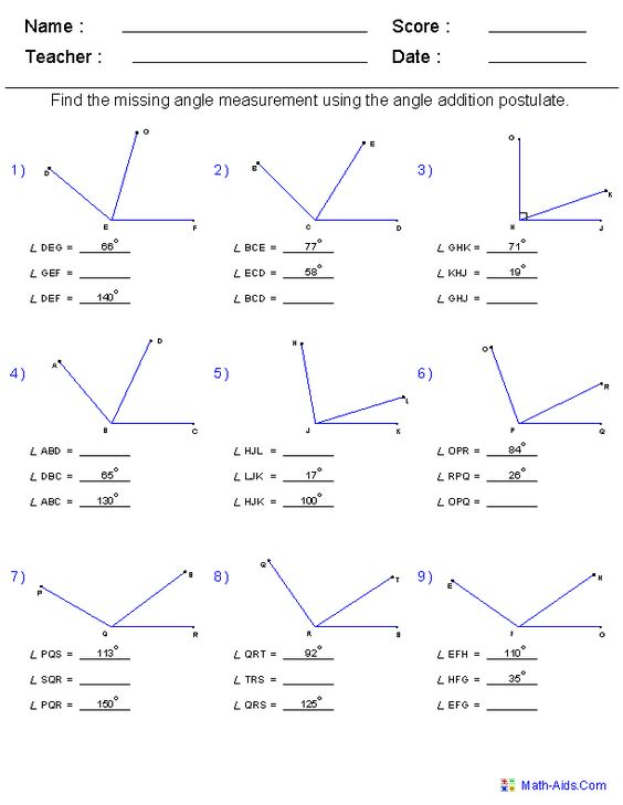 math worksheet : angle addition postulate worksheets  geometry materials  : Accelerated Math Worksheets