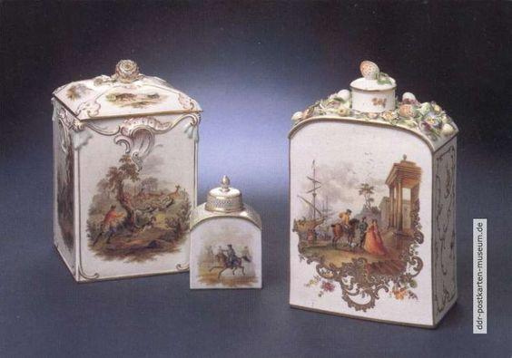 Porzellan-Museum, Tee- oder Tabakdosen mit Jagdszenen nach Riediger 18. Jahrhundert - 1988