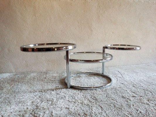Table Basse Chrome Et Verre Vintage Annees 70 Decoration Annees 50 Table Basse Table Basse Verre