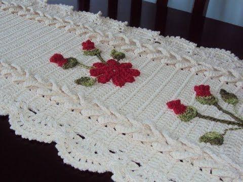Trilho De Mesa Flores E Trancas De Croche Parte 2 Bico De