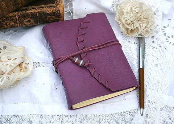 Purple Leather Notebook by youruniquescrapbook on Etsy, £17.95