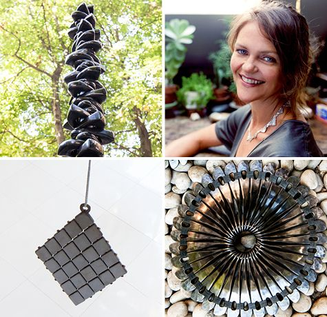 Jill Platner has been hand-making sculptural jewelry—sterling silver or gold necklaces, earrings, and bracelets—in her SoHo studio for almost two decades. Now, her latest artistry, six metal works, are on view at Chelsea's Artisanal House.