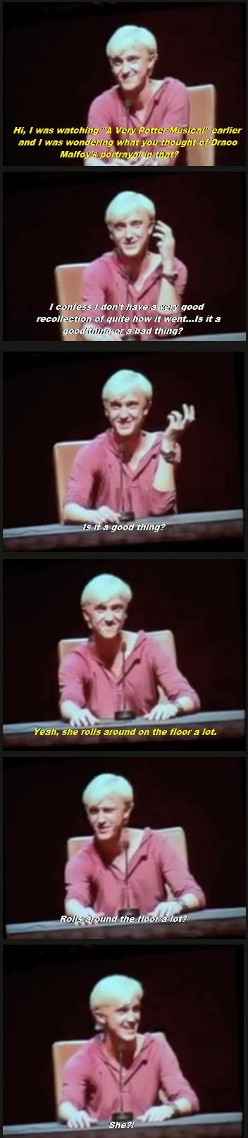 Tom Felton's reaction to A Very Potter Musical...love this!: