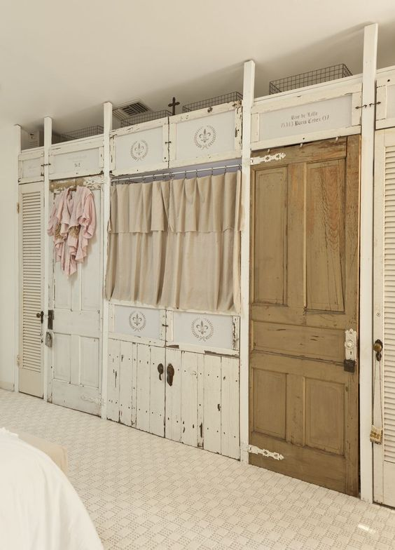 Marvelous Very Shabby Closet Wall (the Flat Screen TV Is Behind The Curtains).