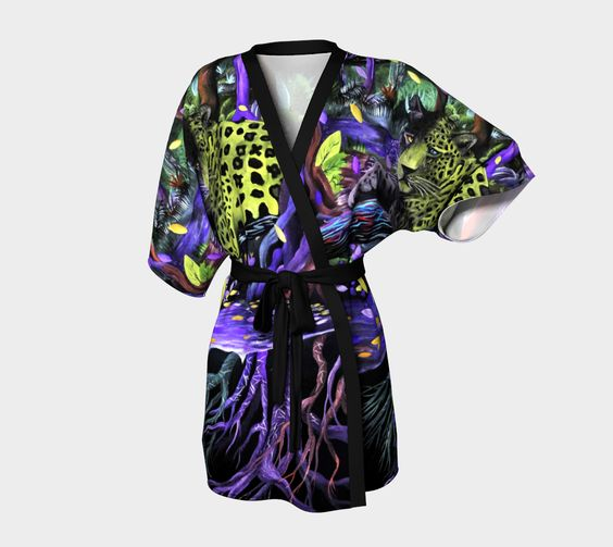 Kimono Robe (Black Light Forest)