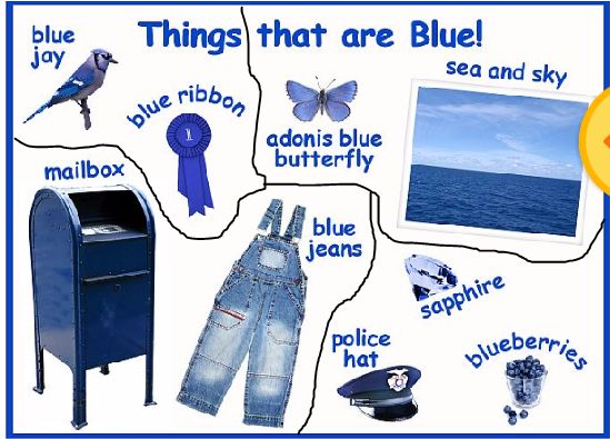 puzzles jigsaw It is called Things that are blue.  cut up the pieces  and ask your kid to put it together again.