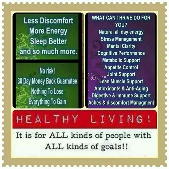 The Thrive has so much to offer if you are looking to live a healthier happier life. And with a 30 day money back guarantee there is no risk. I guarantee you it is a decision you will not regret. Www.thrivingkathy29.le-vel.com