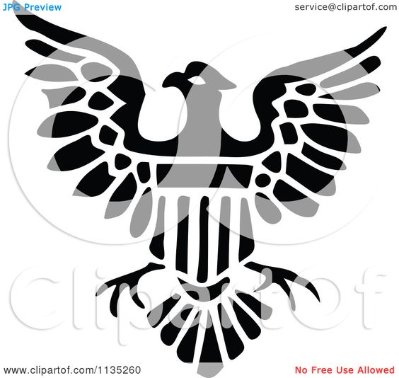Clipart Of A Retro Vintage Black And White Shield Eagle Icon ...