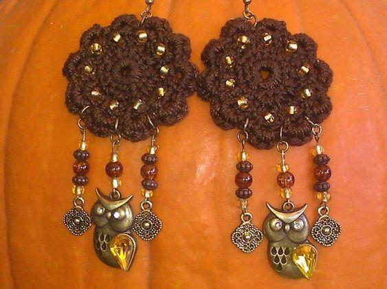 Halloween crochet, beaded earrings ~DoilyDesigns