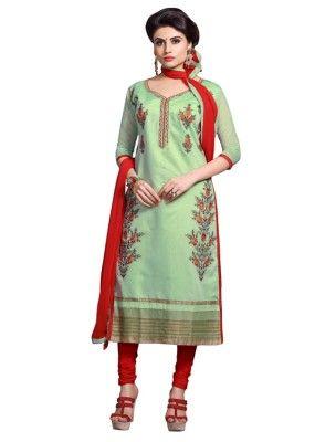 Eid Specialel Light Green CHANDERI COTTON Churidar Suit - 1105