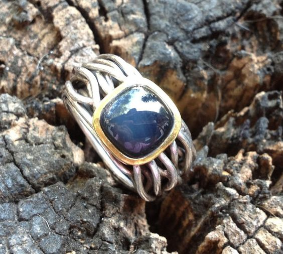 Dark blue agate silver ring by MetalStudioThailand on Etsy, $75.00