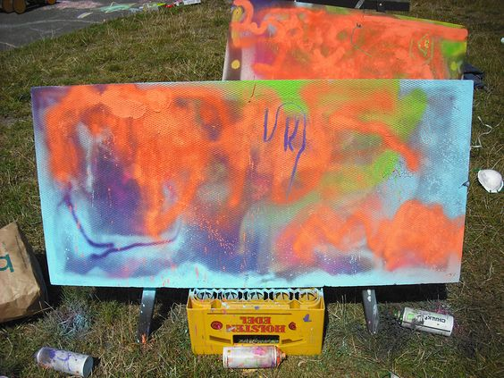 """Last Friday at """"our"""" children's festival, the children were allowed to let out their inner graffiti artists. Instead of graffiti spray paint they used chalk spray, (english and german)"""