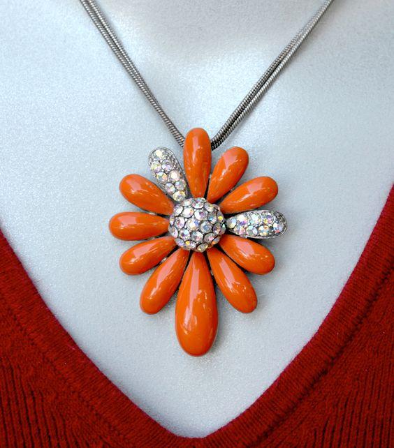 Orange+Enamel+and+AB+Rhinestone+Flower+Vintage+by+HighClassHighway,+$28.00