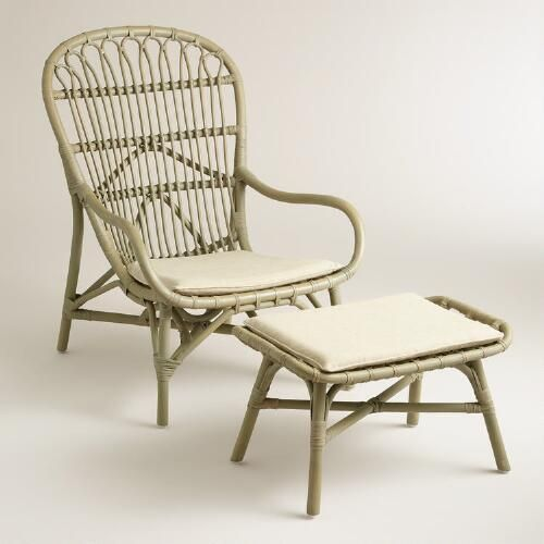 Gray Rattan Wingback Chair And Ottoman Gray Chairs And