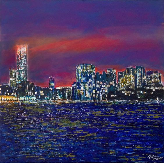 Boston, Hancocktower, Acryl auf Leinwand, 07/2015, 70x70 cm