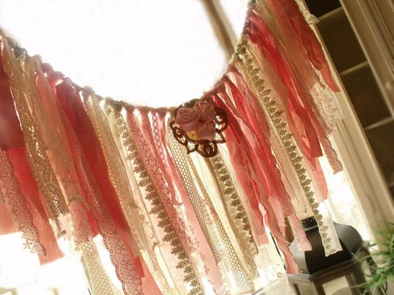 Hey, I found this really awesome Etsy listing at https://www.etsy.com/listing/279989802/44-wide-pink-rag-banner-fringe-fabric