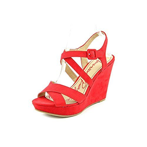 awesome American Rag Rachey Womens Size 9.5 Red Open Toe Faux Suede Wedges Heels Shoes