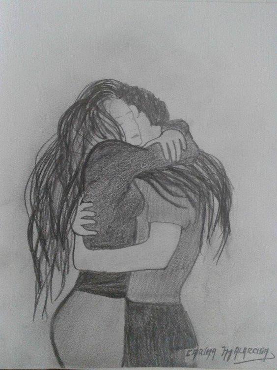 Abrazo desde el Alma. Dibujo a Lápiz.   Carina Malarchia