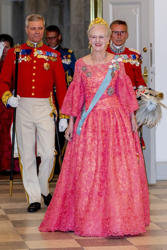 Queen Margrethe of Denmark during the gala banquet on the occasion of The Crown Prince's 50th birthday at Christiansborg Palace Chapel on May 26, 2018 in Copenhagen, Denmark.