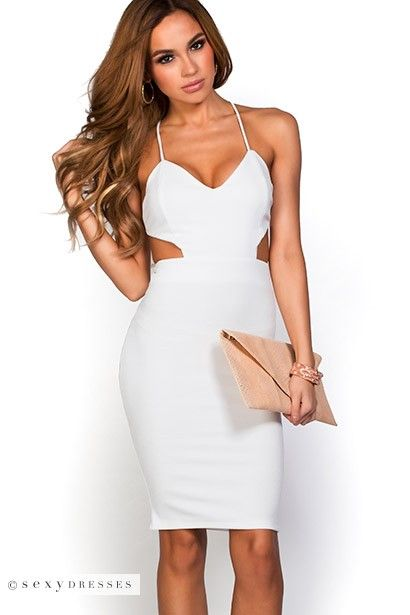 Venus&quot- Crisp White Cut Out Bodycon Backless Party Dress - Side ...