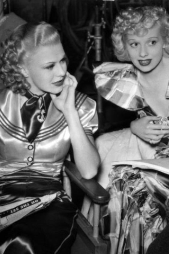Ginger Rogers and Lucy Ball on set: