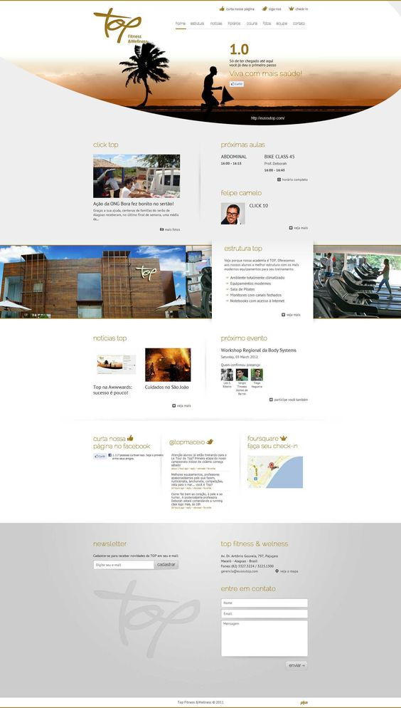 Site clean com ótima organização dos elementos na página.
