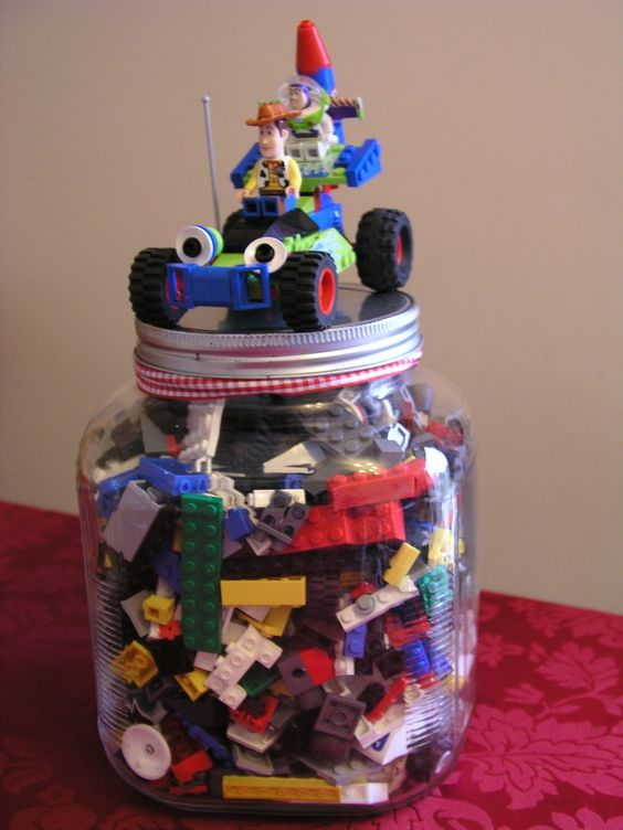 Here is my jar for the school fair - Guess how many pieces in the jar - win all the lego. It is £1 a guess (or maybe 50p) and there is over £50 worth of lego.