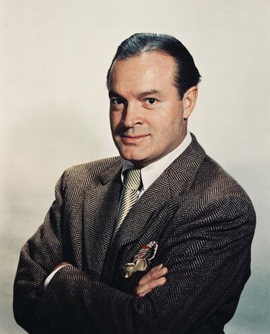 """Bob Hope, (born Leslie Townes Hope; May 29, 1903 – July 27, 2003) was an American comedian and actor who appeared in vaudeville, Broadway, radio, television and movies and noted for his work with the US Armed Forces and his numerous USO shows entertaining American troops. In 1996, the U.S. Congress honored Bob Hope by declaring him the """"first and only honorary veteran of the U.S. armed forces."""" Bob Hope appeared in or hosted 199 known USO shows. Bob Hope died at his home in Toluca Lake."""
