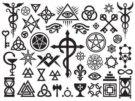 Mittelalterliche Geheimnisvolle Zeichen Und Magie Stempel 19198921 Jpg 800 600 Signe Satanique Signe Celtique Symboles Anciens