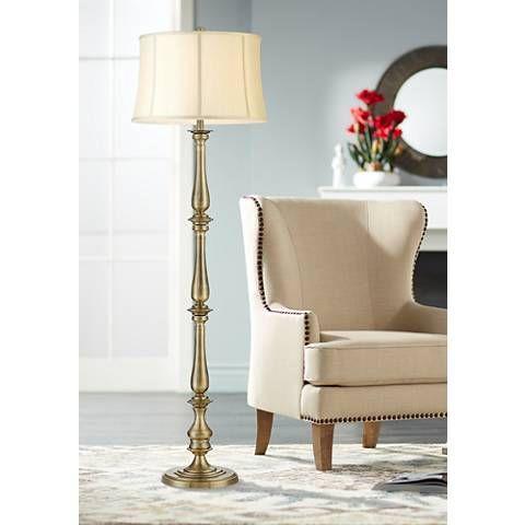 Essex Traditional Satin Brass Floor Lamp 56g96 Lamps Plus Floor Lamp Styles Beautiful Floor Lamps Brass Floor Lamp