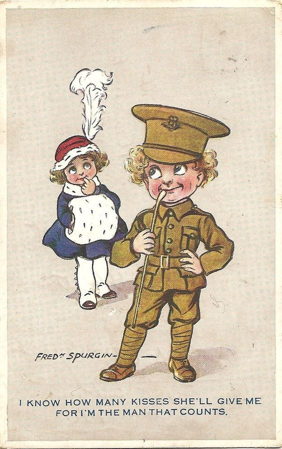 "Fred Spurgin A/S WW1 postcard ""I Know How Many Kisses She'll Give Me..."":"