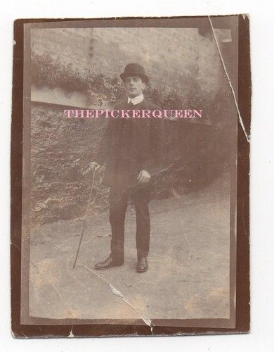 Antique Vintage Photograph~Distinguished Male~Black Suit~Waling Cain~Male