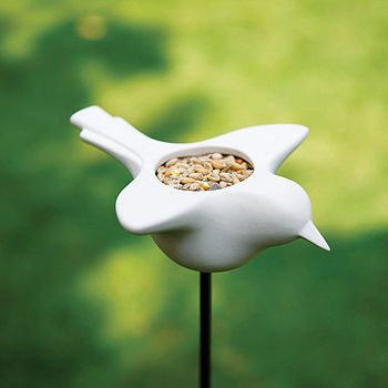 ceramic bird feeder: